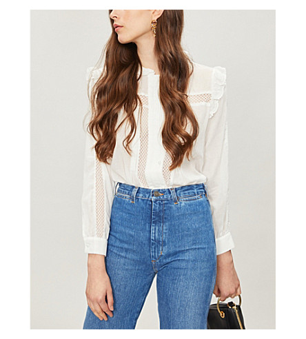 MAJE Ruffled-trim cotton-voile blouse (White