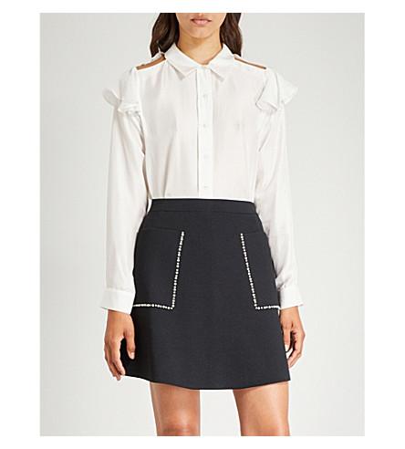 MAJE Chella silk-satin shirt (White