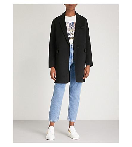 MAJE Galami brushed wool-blend coat (Black