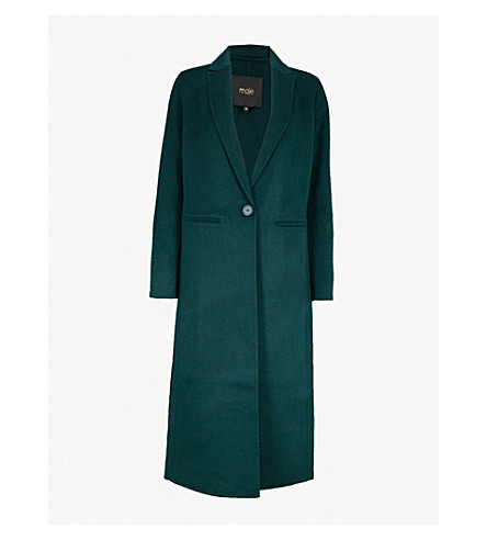 MAJE Galaxy long line wool-blend coat (Green