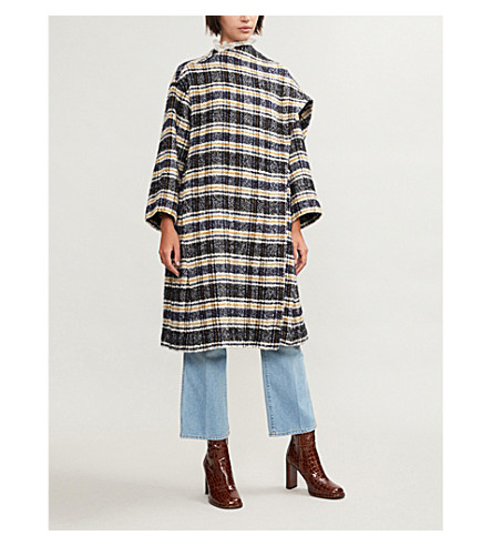 Giolina wrap-front checked tweed coat(H18GIOLINA)