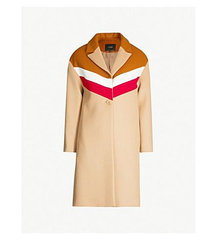 MAJE Gorel contrast-panel wool and cashmere-blend coat (Camel