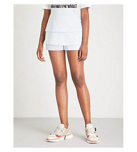 Salia high-rise tiered crepe shorts