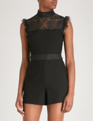 Izona lace-panelled crepe playsuit