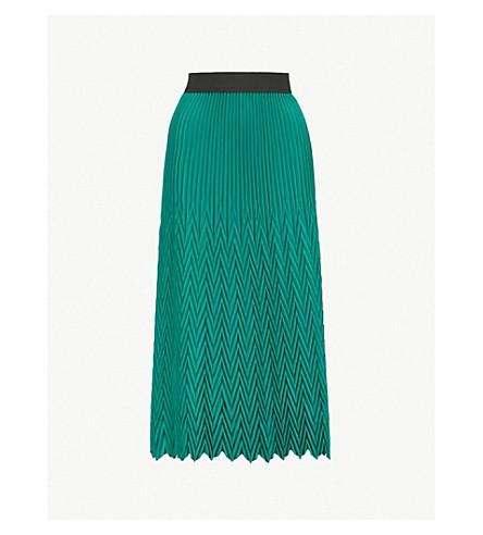 MAJE Herringbone pleated maxi skirt (Green