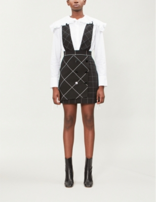Joly Checked Woven Pinafore Skirt in Carreaux