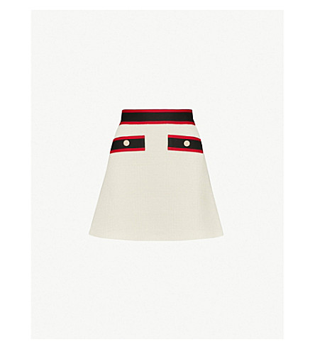MAJE Josine striped-trim tweed skirt (Ecru