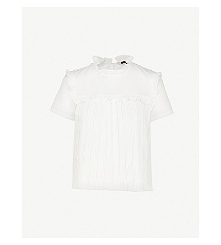 MAJE Lamou crepe top (White