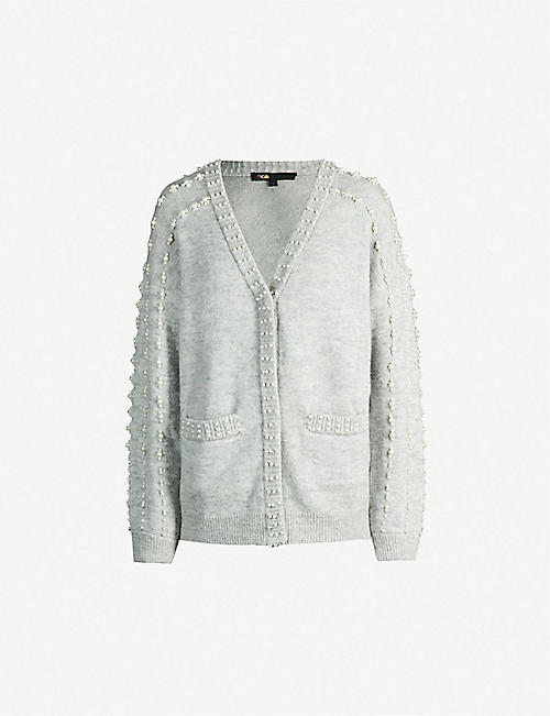 cb869e4d18 MAJE Pearl-embellished knitted cardigan