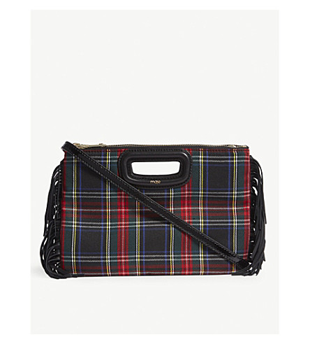 MAJE Tartan-patterned leather cross-body bag (Black