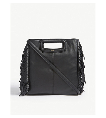 MAJE M large leather cross-body bag (Black