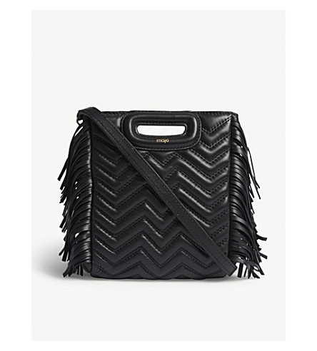 MAJE Fringed quilted leather M cross-body bag (Black