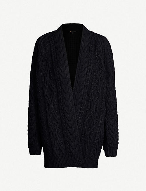 MAJE Mouffle cable-knit cardigan 21923666bb76a