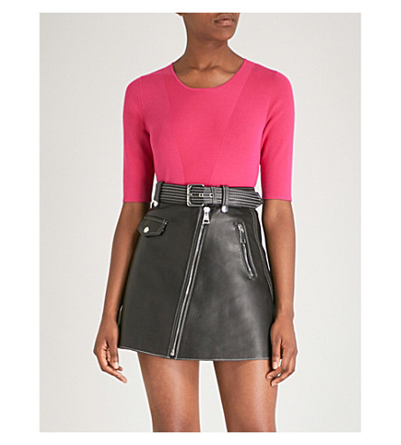 MAJE Short sleeved knitted top (Fuschia