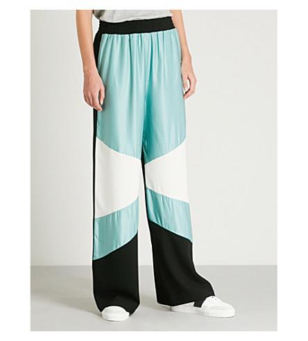 MAJE Colourbloked 缎布和绉裤子 (Multico