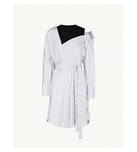 MAJE Riava deconstructed cotton shirt dress (Rayure