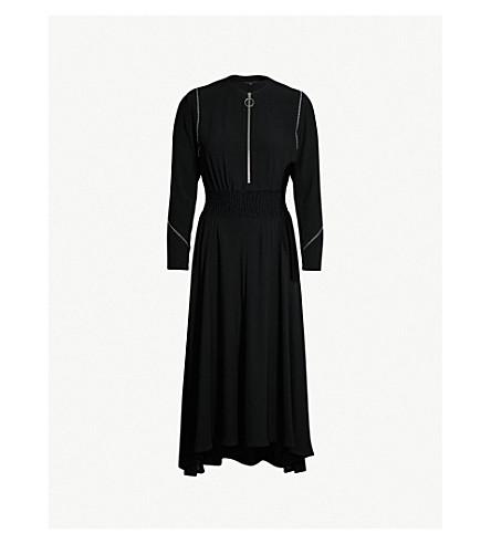 MAJE Zipper-detail crepe midi dress (Black 210