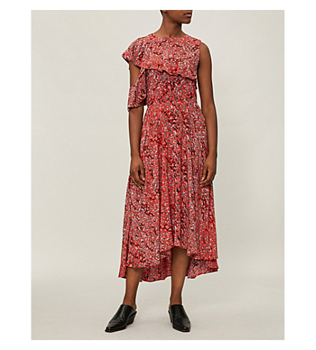 MAJE floral hombros de con midi crepé Imprime y fríos vestido estampado Rivele F71qrF