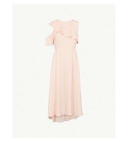 MAJE Riveli cold-shoulder crepe midi dress (Peche