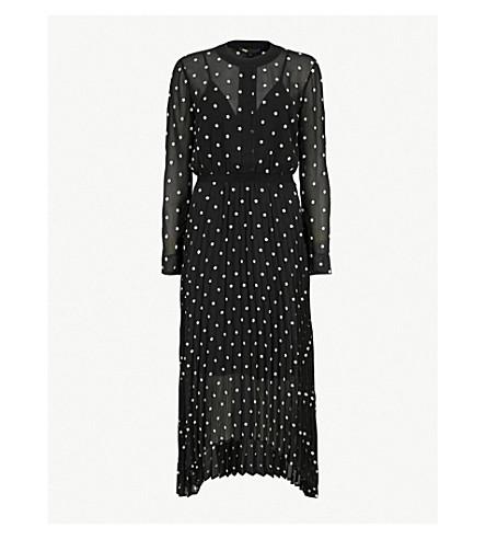 MAJE Embroidered crepe-chiffon dress (Black