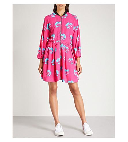MAJE Zip-front floral-print crepe dress (Printed