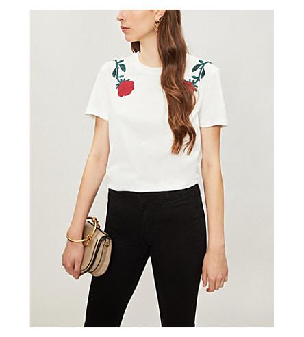 MAJE Rose-embroidered cotton-jersey T-shirt (Blanc
