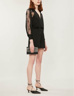 Ines floral-lace trimmed crepe playsuit
