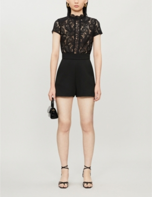 Ilo ruffled-trim lace-panelled crepe playsuit