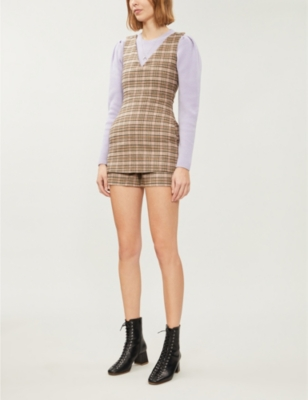 Irilo V-neck checked wool-blend playsuit