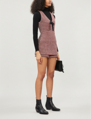 Iroma V-neck checked wool-blend playsuit
