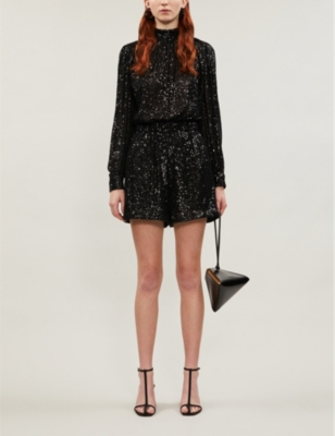 Sequin-embellished woven playsuit