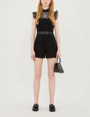 Ruffled stretch-lace and ponté playsuit