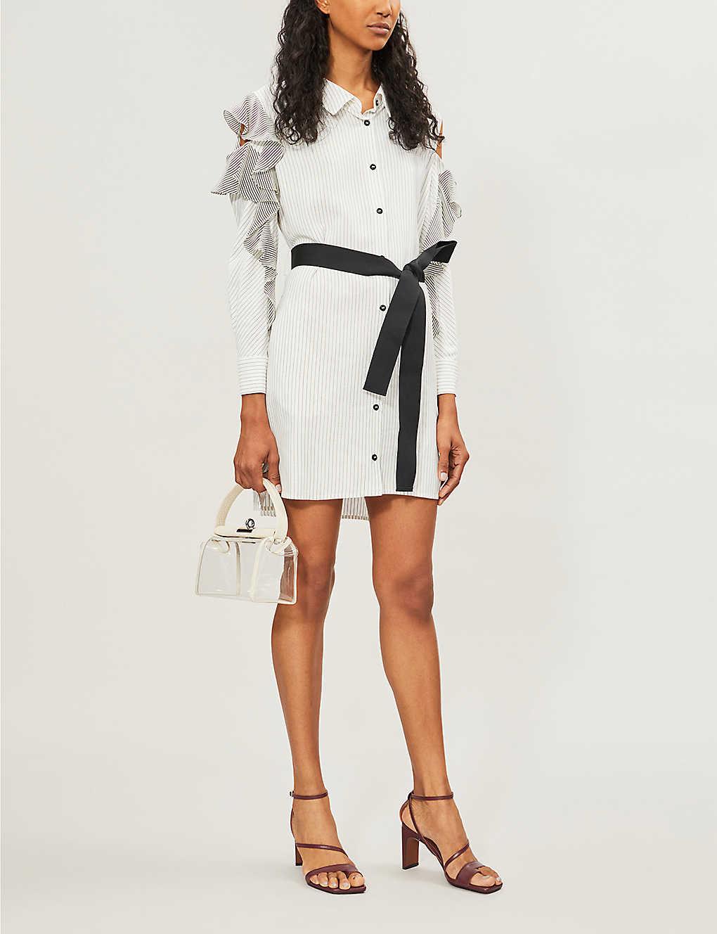 Relia striped cold-shoulder woven dress(8123447)