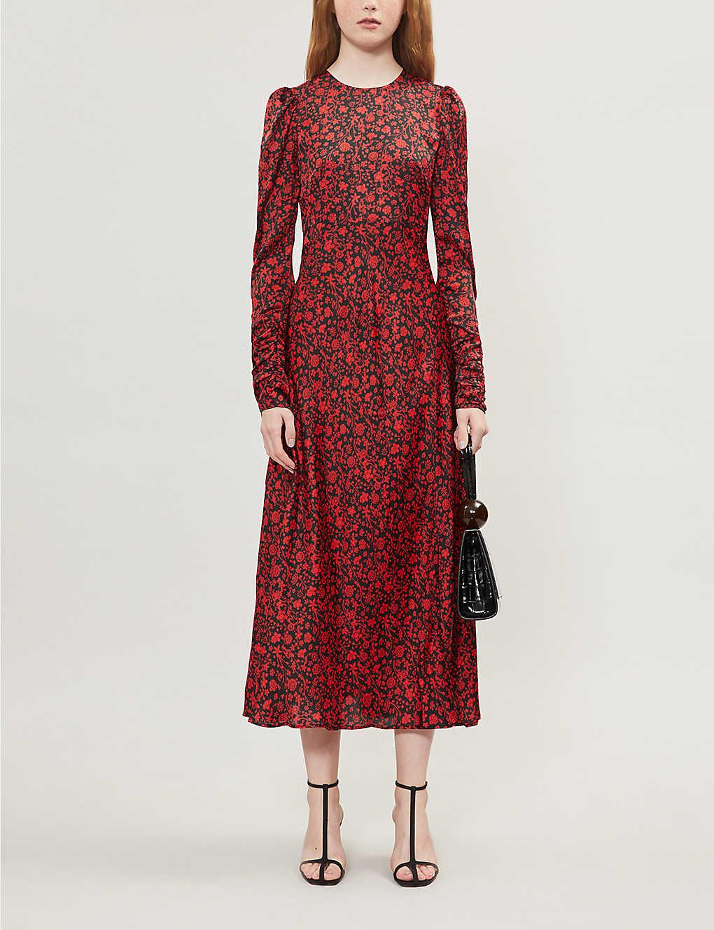 Floral print satin midi dress(8170426)