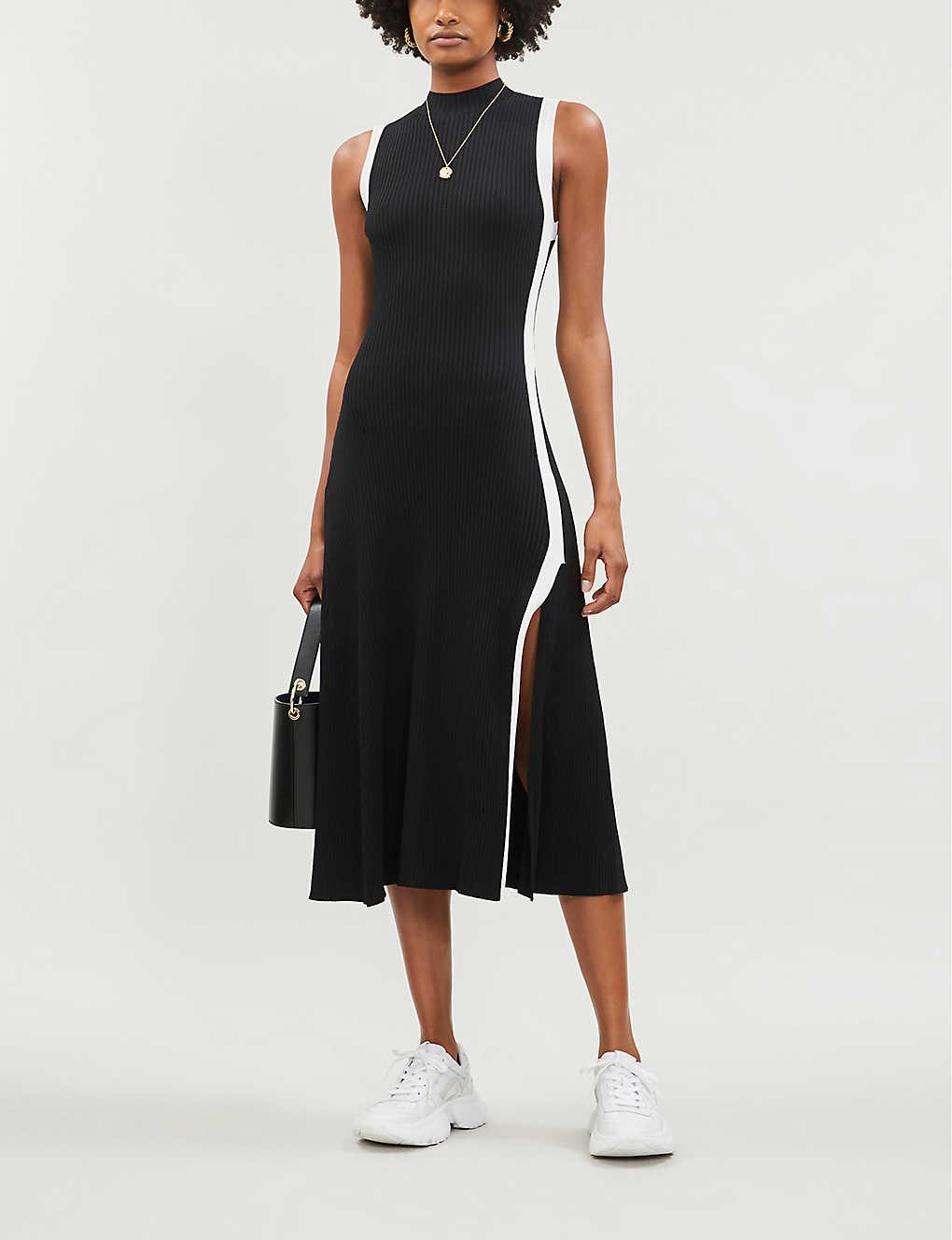 Contrast-trim flared stretch-knit dress(8123386)