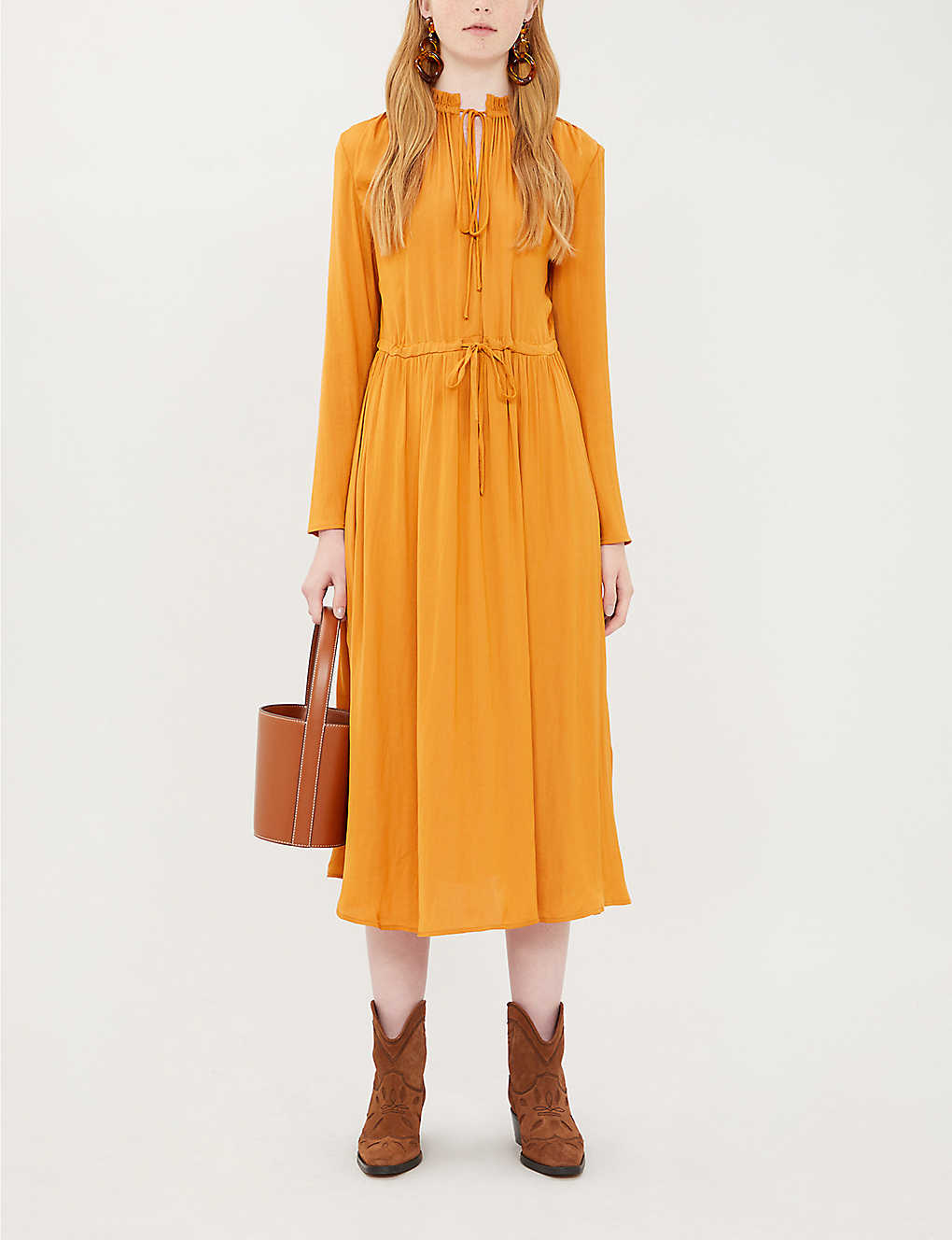 Drawstring-waist satin dress(8123619)