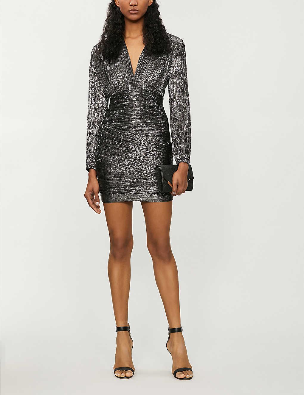 Unny metallic V-neck mini dress(8123509)