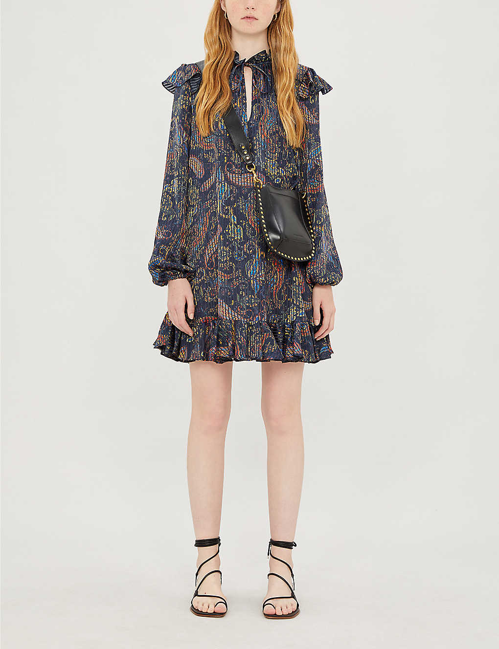 Paisley-print satin dress(8123602)