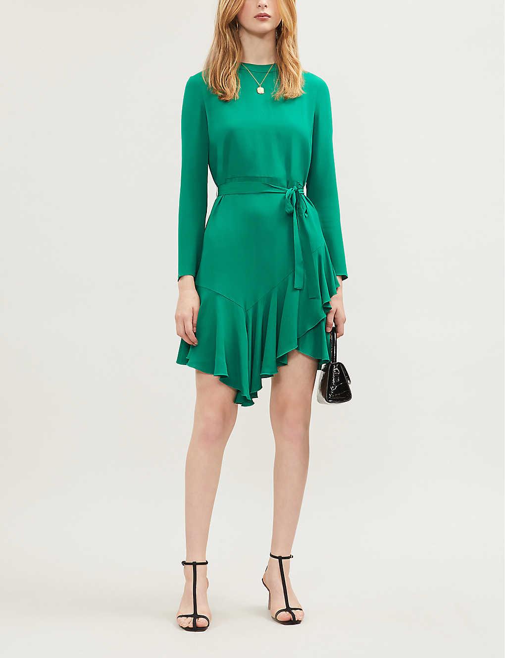 Asymmetric-hem crepe dress(8209092)