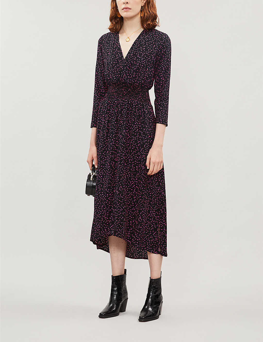 Dotted shirred-waist crepe dress(8135604)