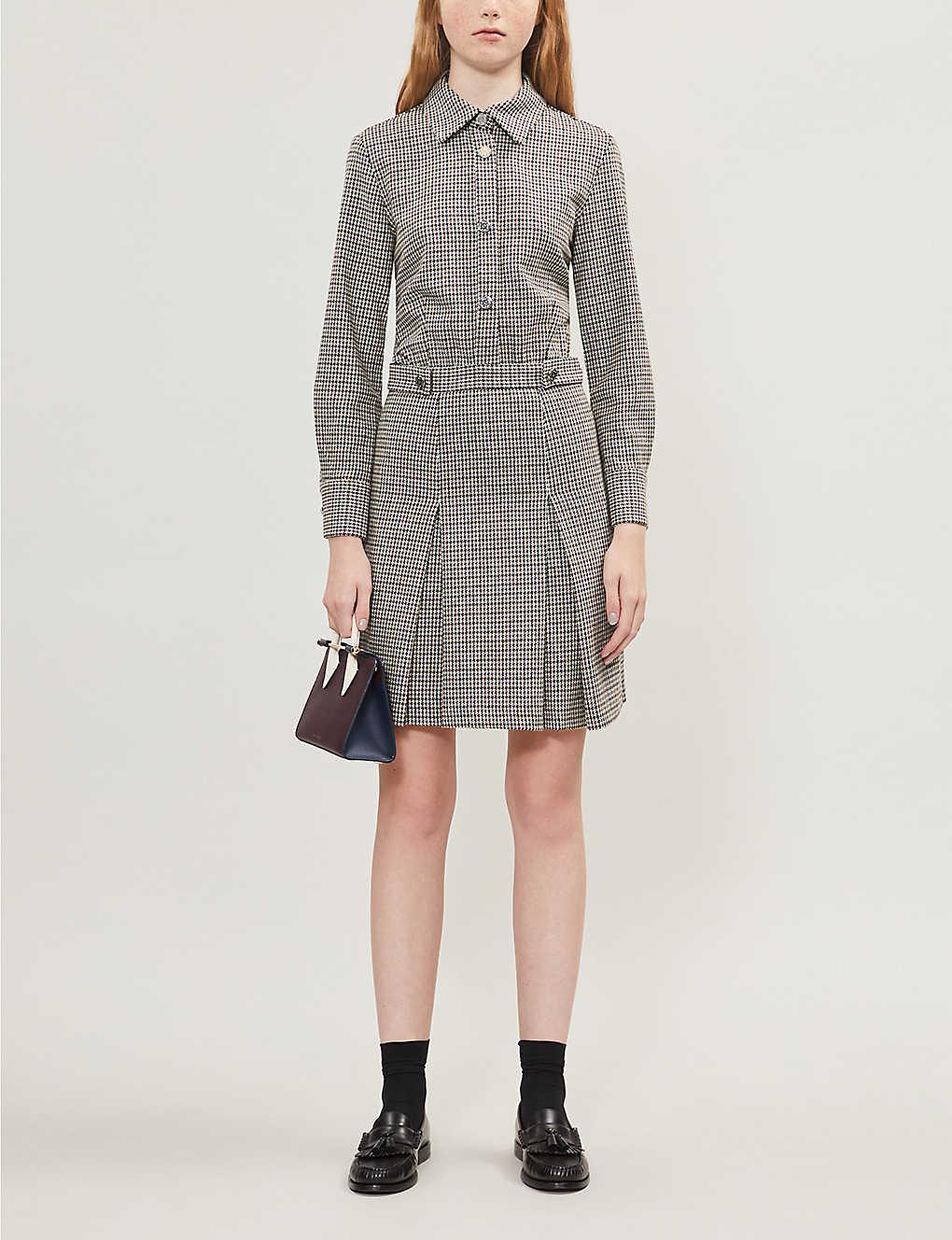 Houndstooth check wool-blend dress(8250440)