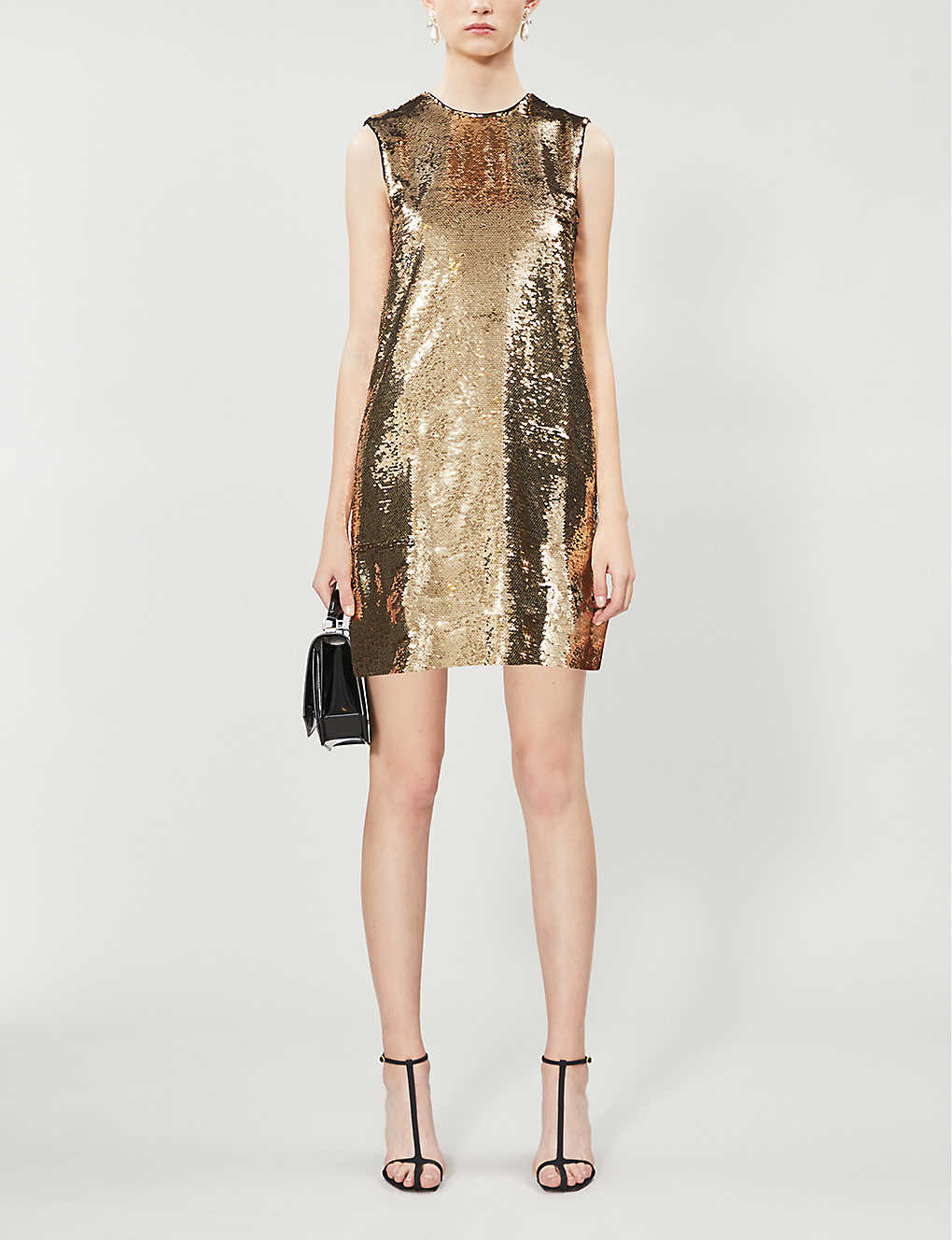 Round-neck sequinned mini dress(8214056)