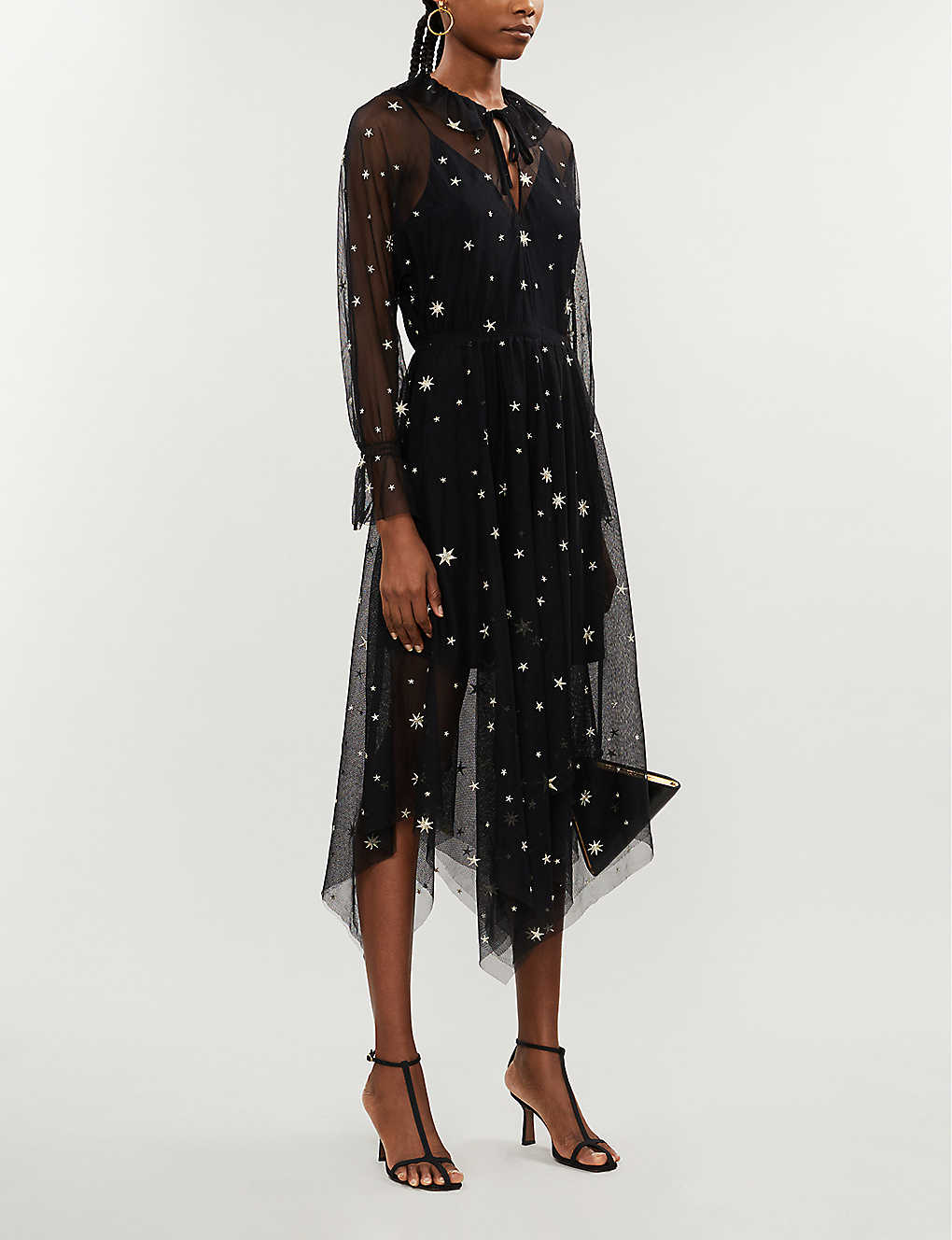 Star-embroidered mesh maxi dress(8308361)