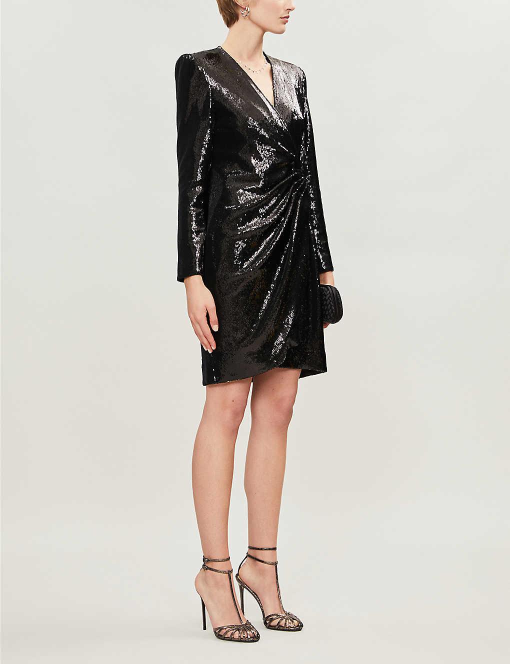 Wrap-over sequin-embellished velvet dress(8312492)