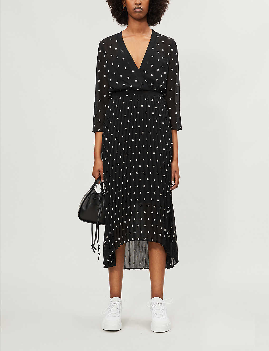 Floral-embroidered wrap-style crepe dress(8184304)