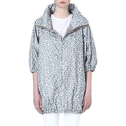 MAJE Mabelle oversized leopard print jacket (White