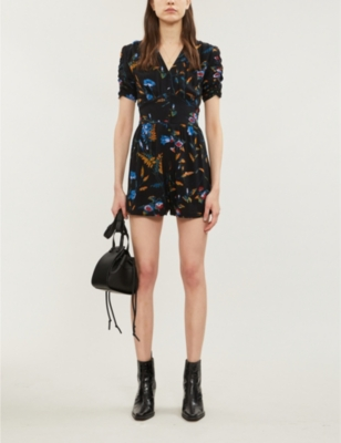 Bermuda V-neck graphic-pattern crepe playsuit