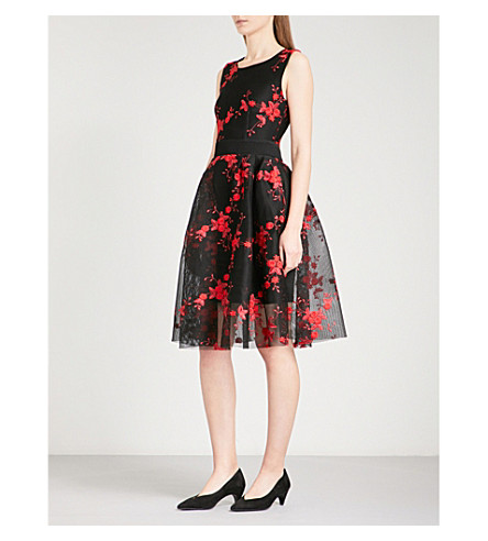 MAJE Rudio embroidered tulle midi dress (Black