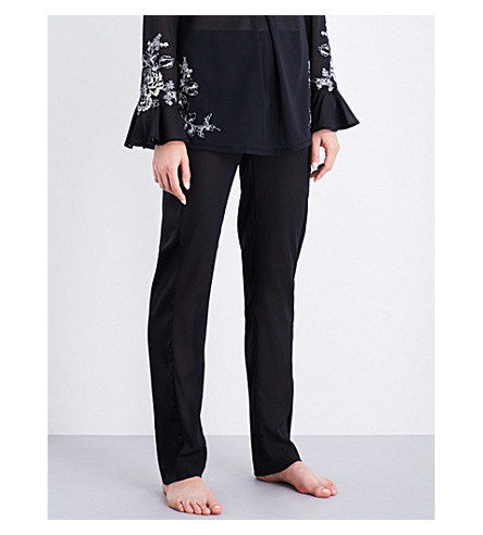 LA PERLA Peony silk-georgette pyjama trousers (Black