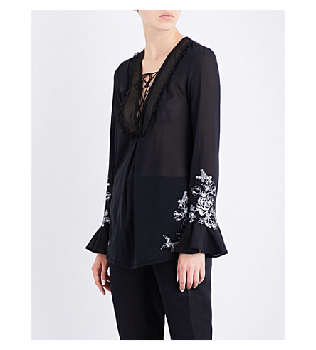 LA PERLA Floral-embroidered silk-georgette pyjama top (Black